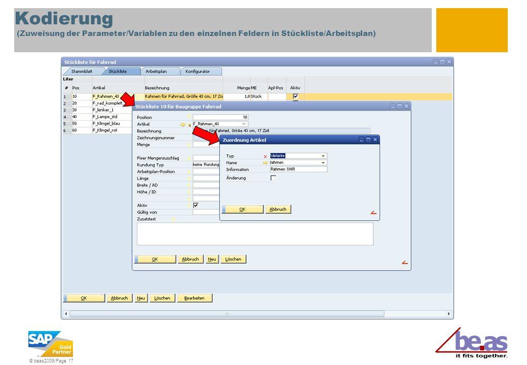 © beas2009/Page 17 Kodierung (Zuweisung der Parameter/Variablen zu den einzelnen Feldern in Stückliste/Arbeitsplan)
