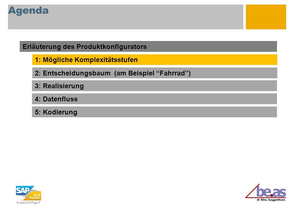 © beas2009/Page 5 Agenda Erläuterung des Produktkonfigurators 1: Mögliche Komplexitätsstufen 2: Entscheidungsbaum (am Beispiel Fahrrad) 3: Realisierun