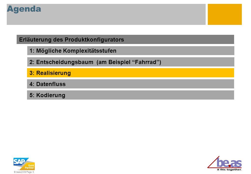 © beas2009/Page 9 Agenda Erläuterung des Produktkonfigurators 1: Mögliche Komplexitätsstufen 2: Entscheidungsbaum (am Beispiel Fahrrad) 3: Realisierun