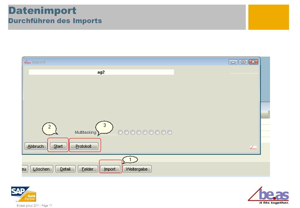 © beas group 2011 / Page 17 Datenimport Durchführen des Imports
