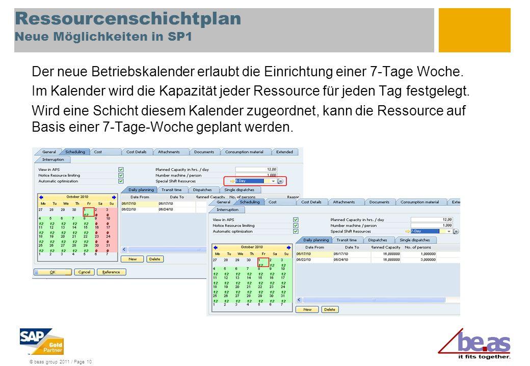 © beas group 2011 / Page 10 Ressourcenschichtplan Neue Möglichkeiten in SP1 Der neue Betriebskalender erlaubt die Einrichtung einer 7-Tage Woche.