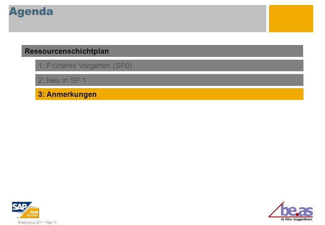 © beas group 2011 / Page 13 Agenda Ressourcenschichtplan 1: Früheres Vorgehen (SP0) 2: Neu in SP 1 3: Anmerkungen