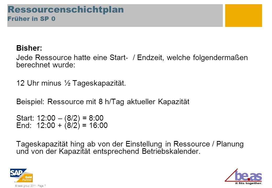 © beas group 2011 / Page 7 Ressourcenschichtplan Früher in SP 0 Bisher: Jede Ressource hatte eine Start- / Endzeit, welche folgendermaßen berechnet wurde: 12 Uhr minus ½ Tageskapazität.