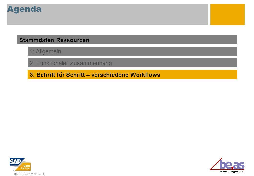 © beas group 2011 / Page 10 Agenda Stammdaten Ressourcen 1: Allgemein 3: Schritt für Schritt – verschiedene Workflows 2: Funktionaler Zusammenhang