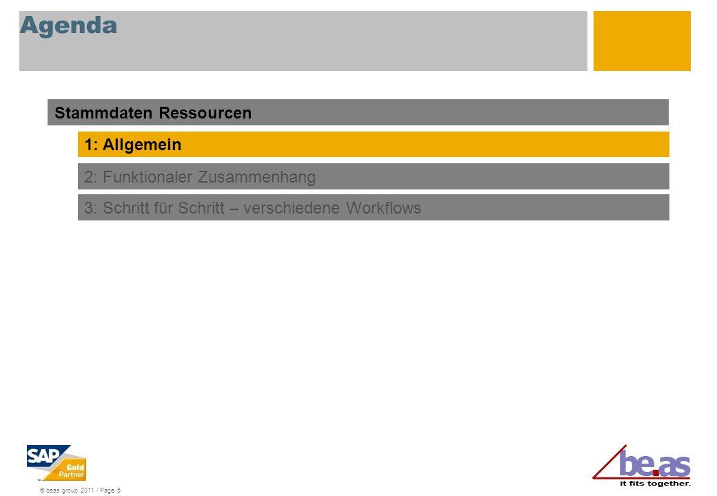 © beas group 2011 / Page 5 Agenda Stammdaten Ressourcen 1: Allgemein 2: Funktionaler Zusammenhang 3: Schritt für Schritt – verschiedene Workflows