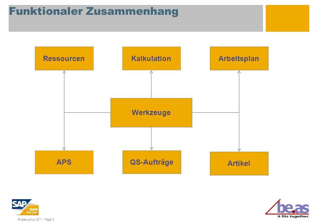 © beas group 2011 / Page 20 Werkzeug – Freigabe via Sperrlager Voraussetzung: Arbeitsgang Rüsten.