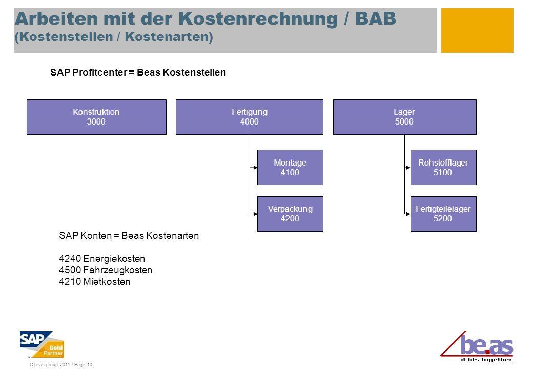© beas group 2011 / Page 10 Arbeiten mit der Kostenrechnung / BAB (Kostenstellen / Kostenarten) Konstruktion 3000 Montage 4100 Fertigung 4000 Lager 50