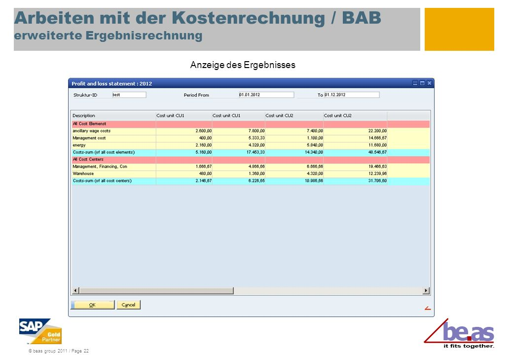 © beas group 2011 / Page 22 Arbeiten mit der Kostenrechnung / BAB erweiterte Ergebnisrechnung Anzeige des Ergebnisses
