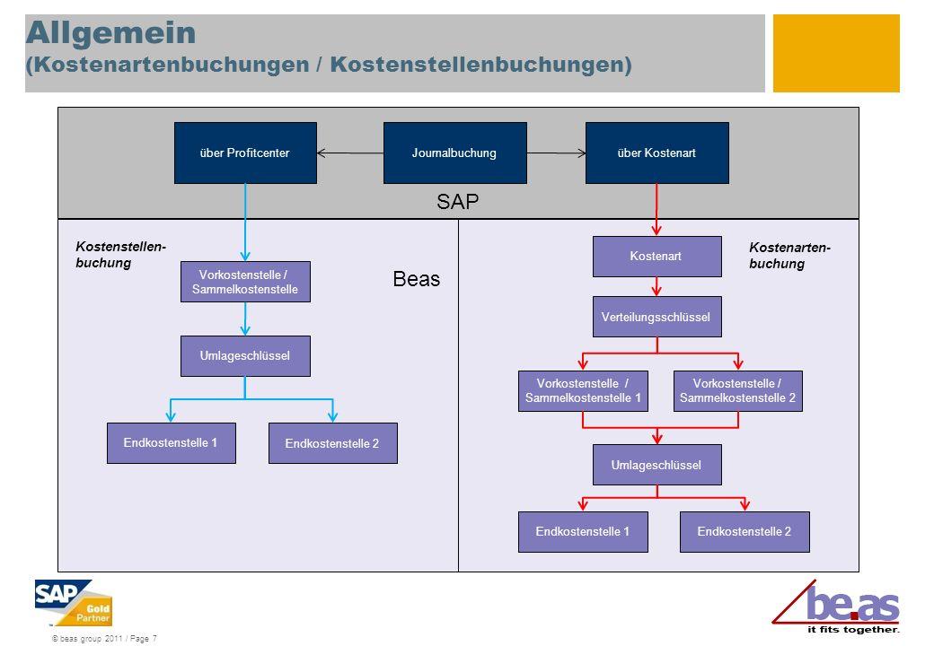 © beas group 2011 / Page 7 Allgemein (Kostenartenbuchungen / Kostenstellenbuchungen) Journalbuchungüber Kostenart Umlageschlüssel Kostenart Verteilung