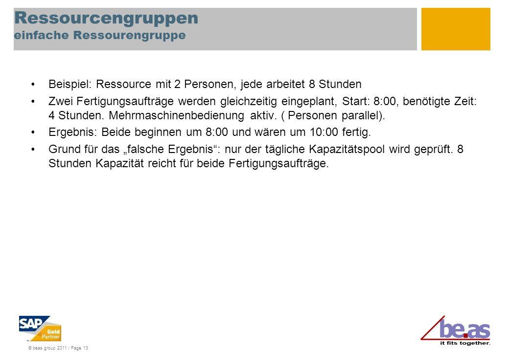 © beas group 2011 / Page 13 Ressourcengruppen einfache Ressourengruppe Beispiel: Ressource mit 2 Personen, jede arbeitet 8 Stunden Zwei Fertigungsauft