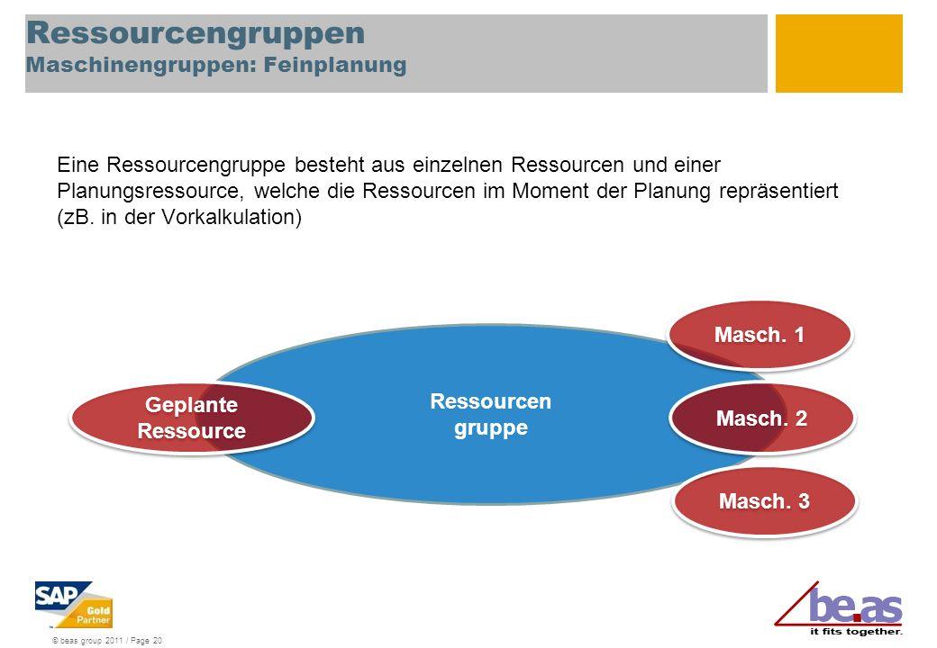 © beas group 2011 / Page 20 Ressourcengruppen Maschinengruppen: Feinplanung Eine Ressourcengruppe besteht aus einzelnen Ressourcen und einer Planungsr