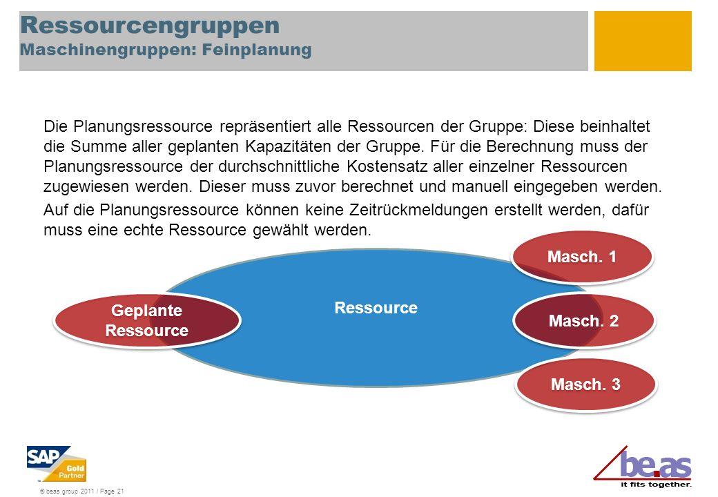 © beas group 2011 / Page 21 Ressourcengruppen Maschinengruppen: Feinplanung Die Planungsressource repräsentiert alle Ressourcen der Gruppe: Diese bein