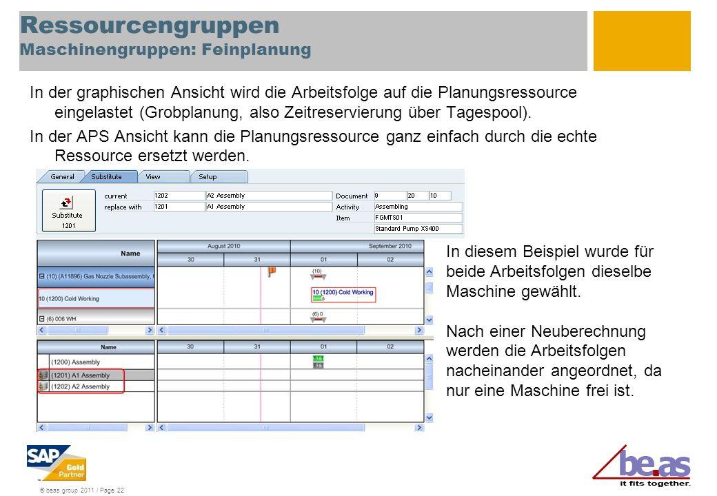 © beas group 2011 / Page 22 Ressourcengruppen Maschinengruppen: Feinplanung In der graphischen Ansicht wird die Arbeitsfolge auf die Planungsressource