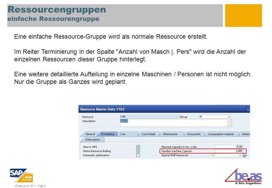 © beas group 2011 / Page 20 Ressourcengruppen Maschinengruppen: Feinplanung Eine Ressourcengruppe besteht aus einzelnen Ressourcen und einer Planungsressource, welche die Ressourcen im Moment der Planung repräsentiert (zB.