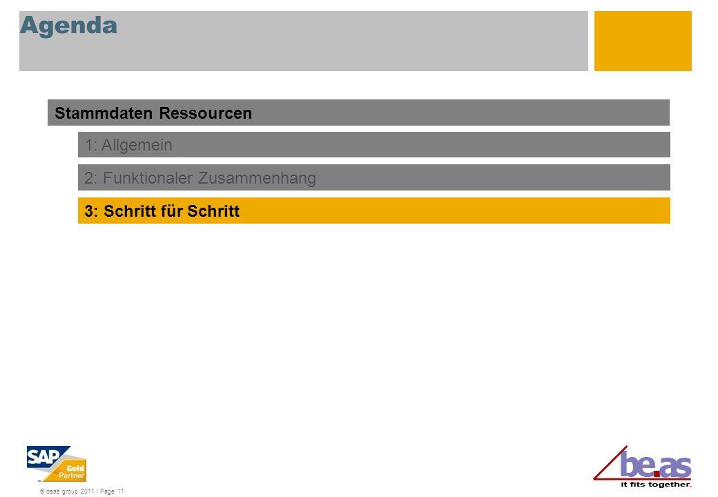 © beas group 2011 / Page 11 Agenda Stammdaten Ressourcen 1: Allgemein 3: Schritt für Schritt 2: Funktionaler Zusammenhang