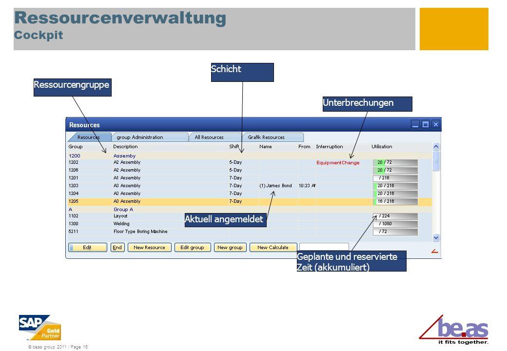 © beas group 2011 / Page 16 Ressourcenverwaltung Cockpit Ressourcengruppe Schicht Aktuell angemeldet Unterbrechungen Geplante und reservierte Zeit (ak