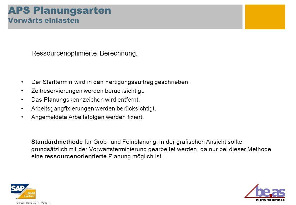 © beas group 2011 / Page 14 APS Planungsarten Vorwärts einlasten Ressourcenoptimierte Berechnung. Der Starttermin wird in den Fertigungsauftrag geschr