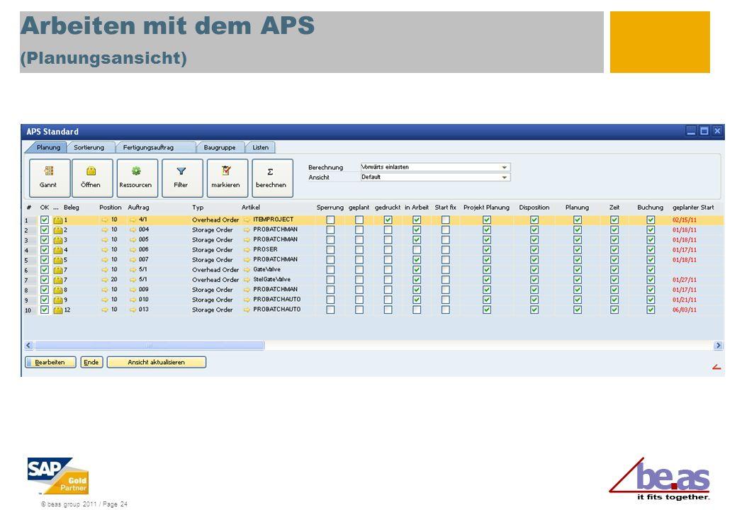 © beas group 2011 / Page 24 Arbeiten mit dem APS (Planungsansicht)