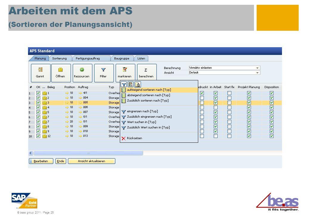 © beas group 2011 / Page 25 Arbeiten mit dem APS (Sortieren der Planungsansicht)
