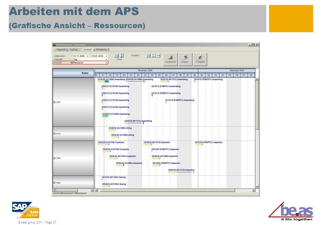 © beas group 2011 / Page 27 Arbeiten mit dem APS (Grafische Ansicht – Ressourcen)