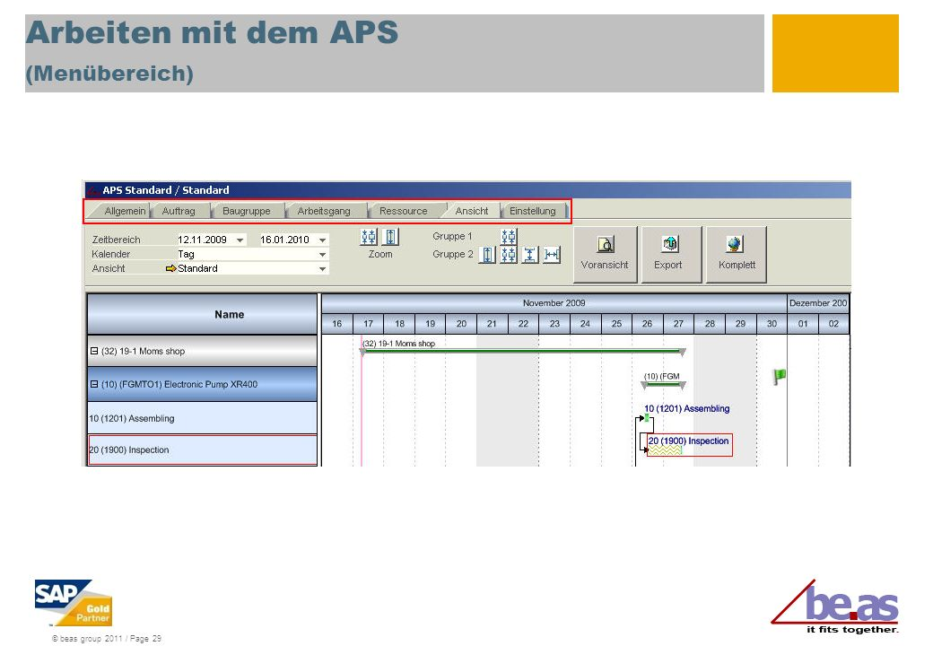 © beas group 2011 / Page 29 Arbeiten mit dem APS (Menübereich)