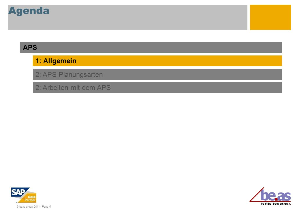 © beas group 2011 / Page 5 Agenda APS 1: Allgemein 2: APS Planungsarten 2: Arbeiten mit dem APS