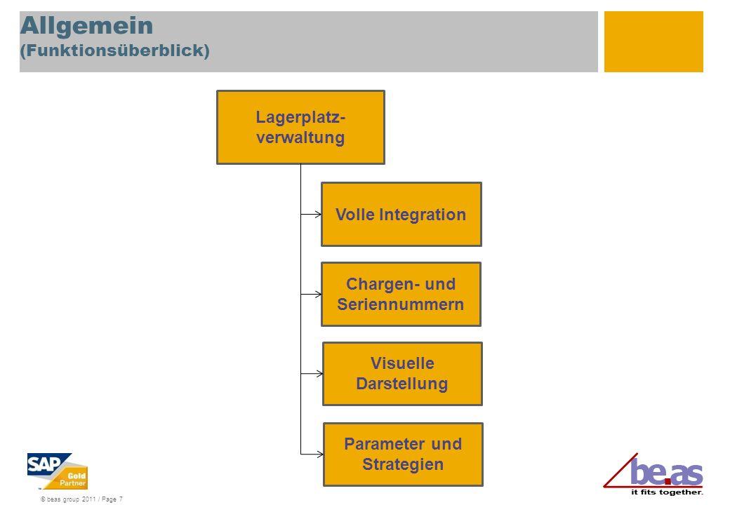 © beas group 2011 / Page 7 Allgemein (Funktionsüberblick) Volle Integration Lagerplatz- verwaltung Chargen- und Seriennummern Visuelle Darstellung Parameter und Strategien