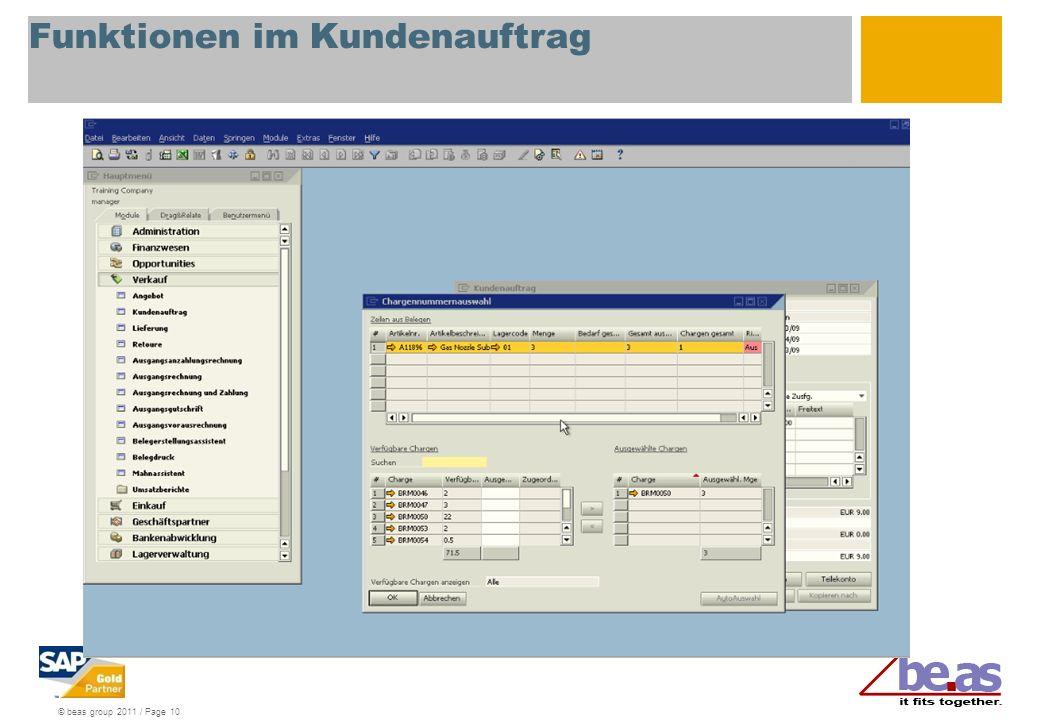 © beas group 2011 / Page 10 Funktionen im Kundenauftrag