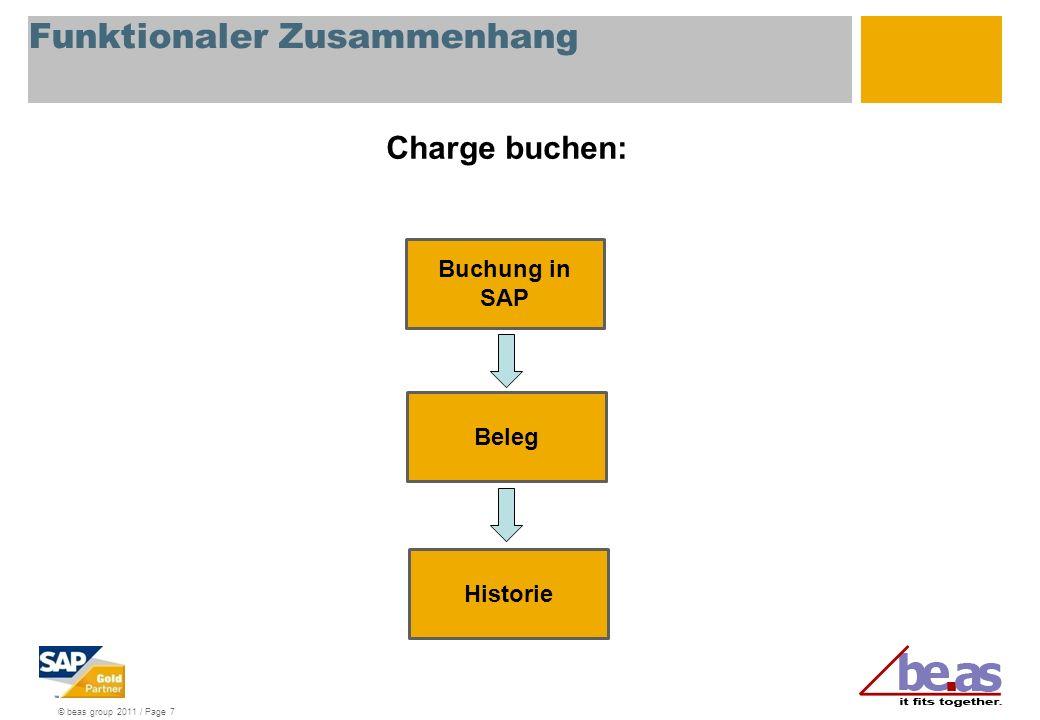 © beas group 2011 / Page 7 Funktionaler Zusammenhang Charge buchen: Buchung in SAP Beleg Historie