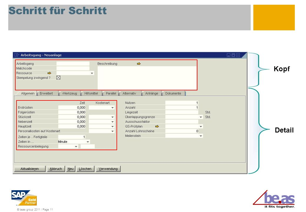 © beas group 2011 / Page 11 Schritt für Schritt Kopf Detail
