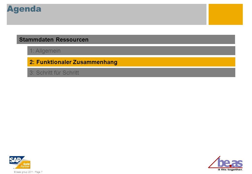© beas group 2011 / Page 7 Agenda Stammdaten Ressourcen 1: Allgemein 2: Funktionaler Zusammenhang 3: Schritt für Schritt