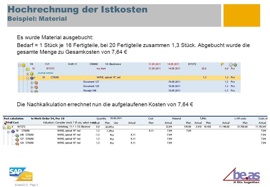 © beas2012 / Page 4 Hochrechnung der Istkosten Beispiel: Material Es wurde Material ausgebucht: Bedarf = 1 Stück je 16 Fertigteile, bei 20 Fertigteile