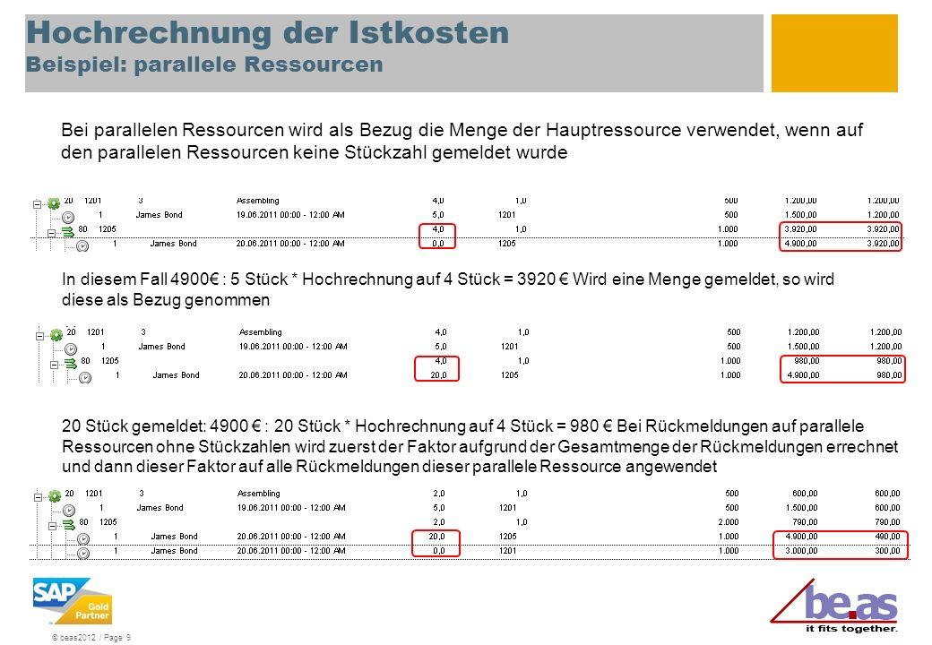 © beas2012 / Page 10 Hochrechnung der Istkosten Beispiel: nicht rückmeldepflichtige Arbeitsfolgen Im Einrichtungsassistent kann eingestellt werden, dass nicht rückmeldepflichtige Arbeitsfolgen zu Istkosten bewertet werden sollen, wenn keine Rückmeldung erfolgte.
