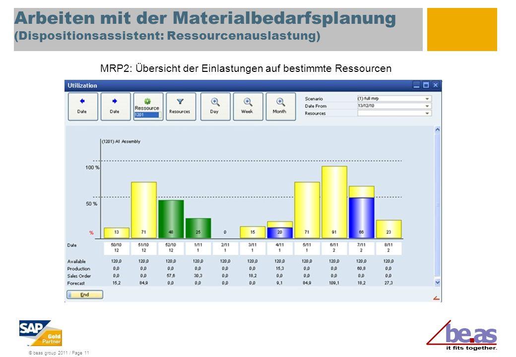 © beas group 2011 / Page 11 Arbeiten mit der Materialbedarfsplanung (Dispositionsassistent: Ressourcenauslastung) MRP2: Übersicht der Einlastungen auf