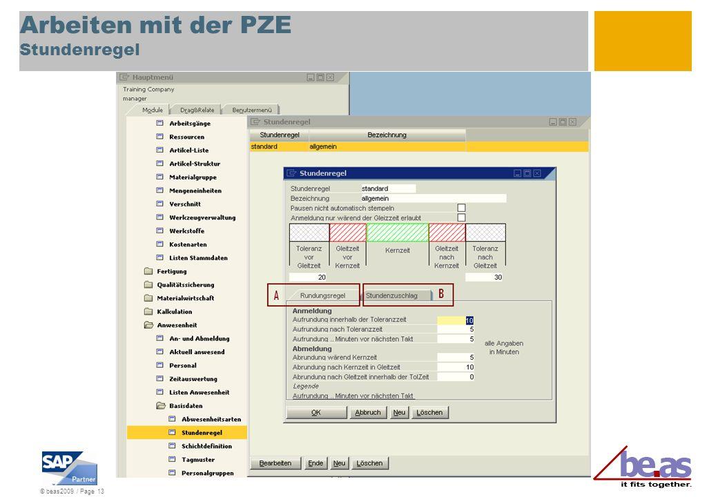 © beas2009 / Page 13 Arbeiten mit der PZE Stundenregel