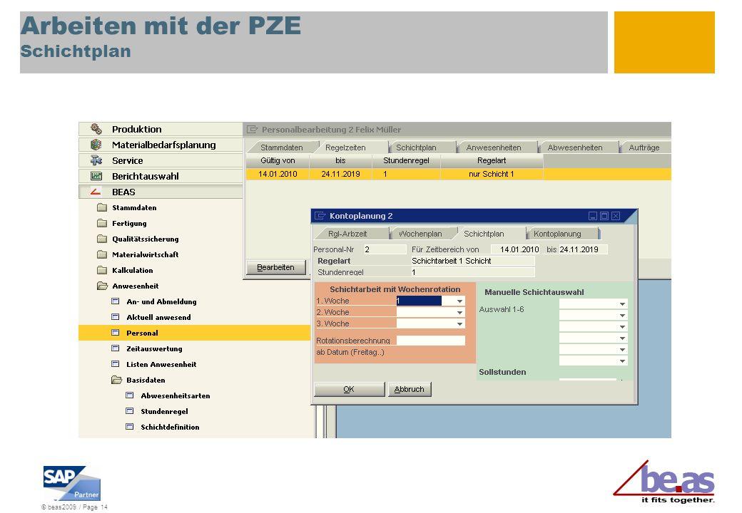 © beas2009 / Page 14 Arbeiten mit der PZE Schichtplan