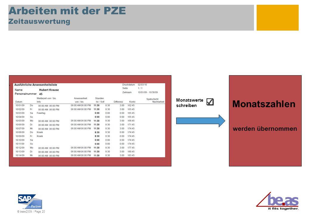 © beas2009 / Page 20 Arbeiten mit der PZE Zeitauswertung. Monatswerte schreiben Monatszahlen werden übernommen