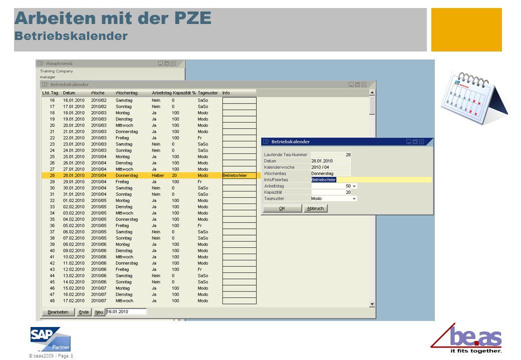 © beas2009 / Page 8 Arbeiten mit der PZE Betriebskalender