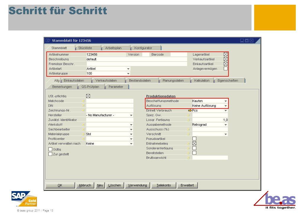 © beas group 2011 / Page 13 Schritt für Schritt