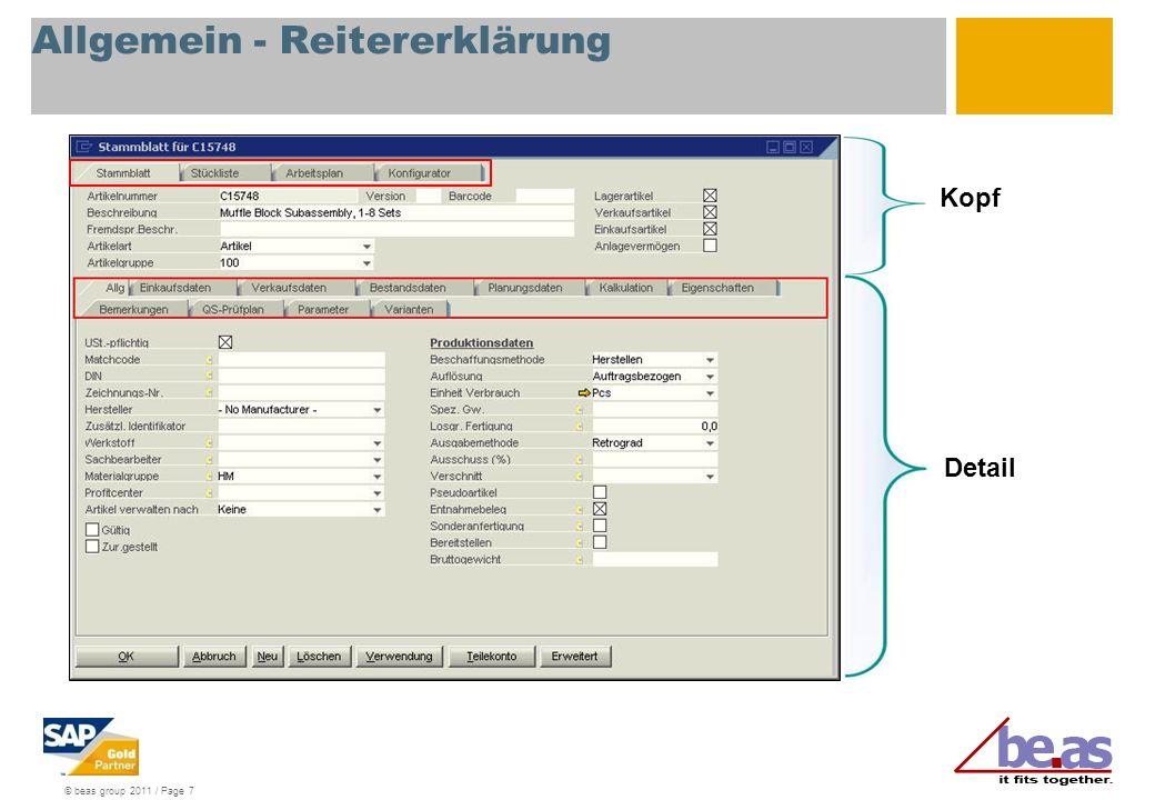 © beas group 2011 / Page 7 Allgemein - Reitererklärung Kopf Detail