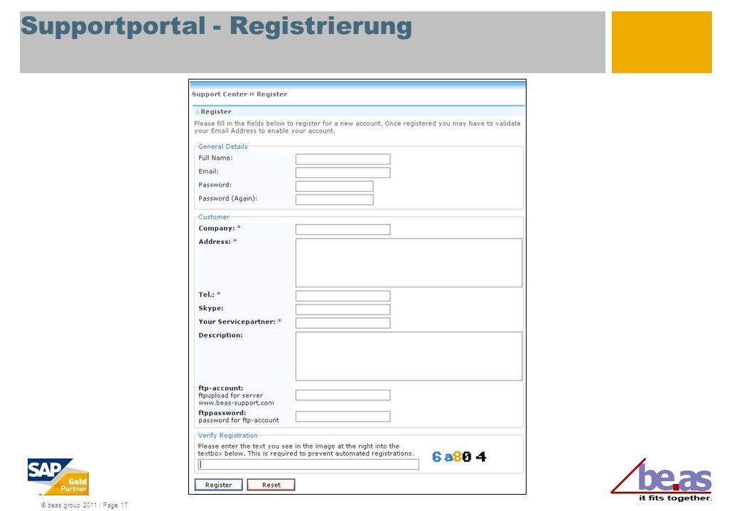 © beas group 2011 / Page 17 Supportportal - Registrierung