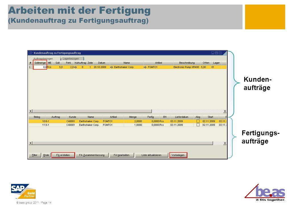 © beas group 2011 / Page 14 Arbeiten mit der Fertigung (Kundenauftrag zu Fertigungsauftrag) Kunden- aufträge Fertigungs- aufträge