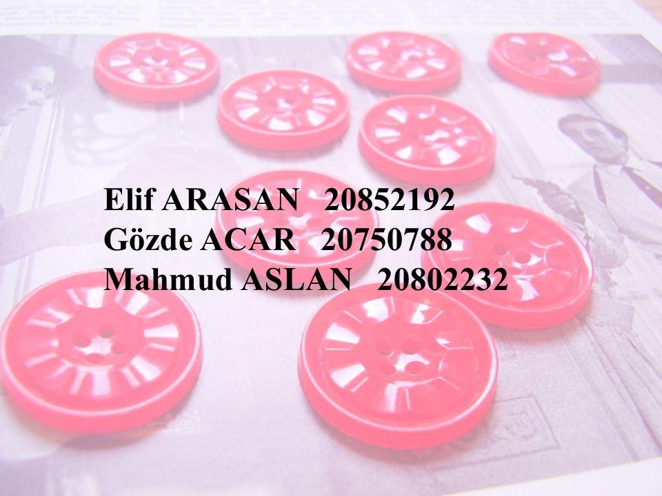 Elif ARASAN 20852192 Gözde ACAR 20750788 Mahmud ASLAN 20802232