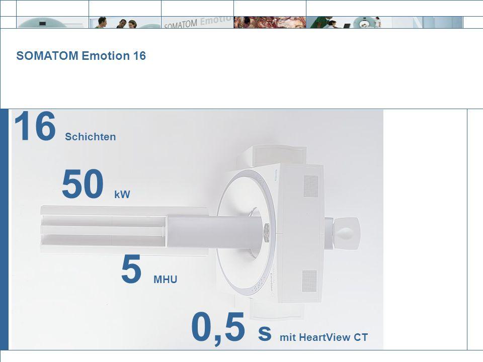 16 Schichten 50 kW 5 MHU 0,5 s mit HeartView CT SOMATOM Emotion 16