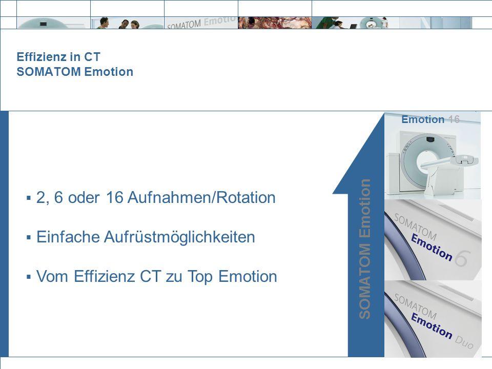 Effizienz in CT SOMATOM Emotion SOMATOM Emotion Emotion 16 2, 6 oder 16 Aufnahmen/Rotation Einfache Aufrüstmöglichkeiten Vom Effizienz CT zu Top Emoti