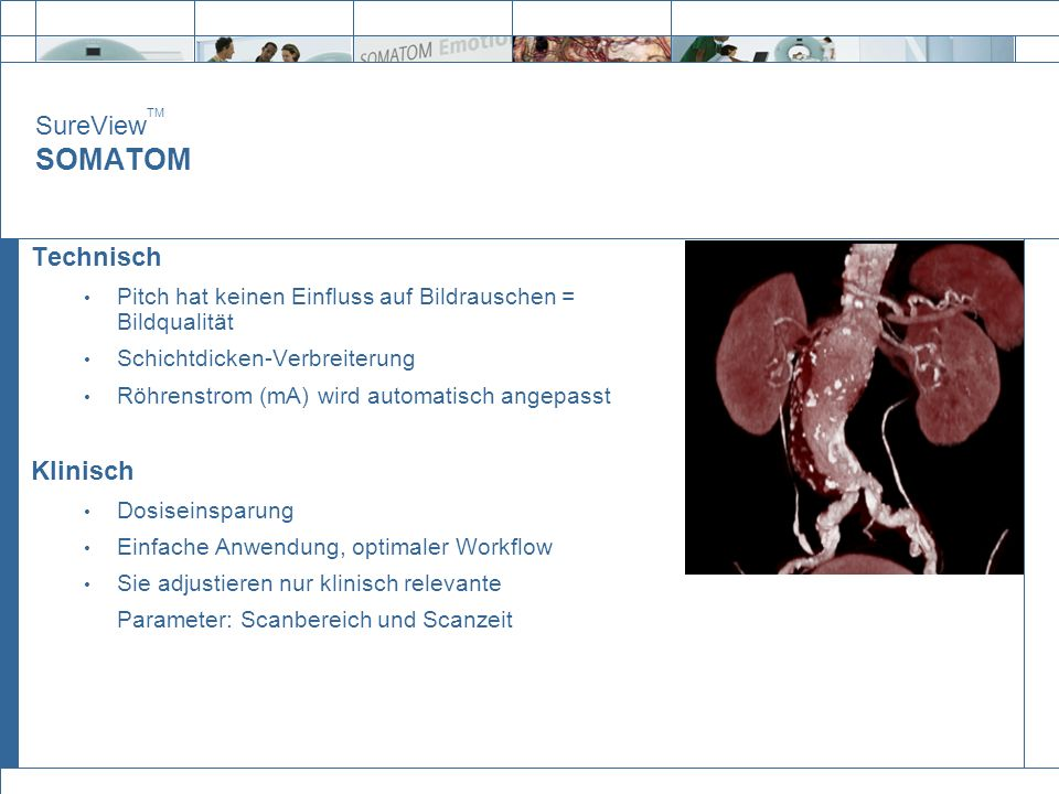 SureView TM SOMATOM Technisch Pitch hat keinen Einfluss auf Bildrauschen = Bildqualität Schichtdicken-Verbreiterung Röhrenstrom (mA) wird automatisch