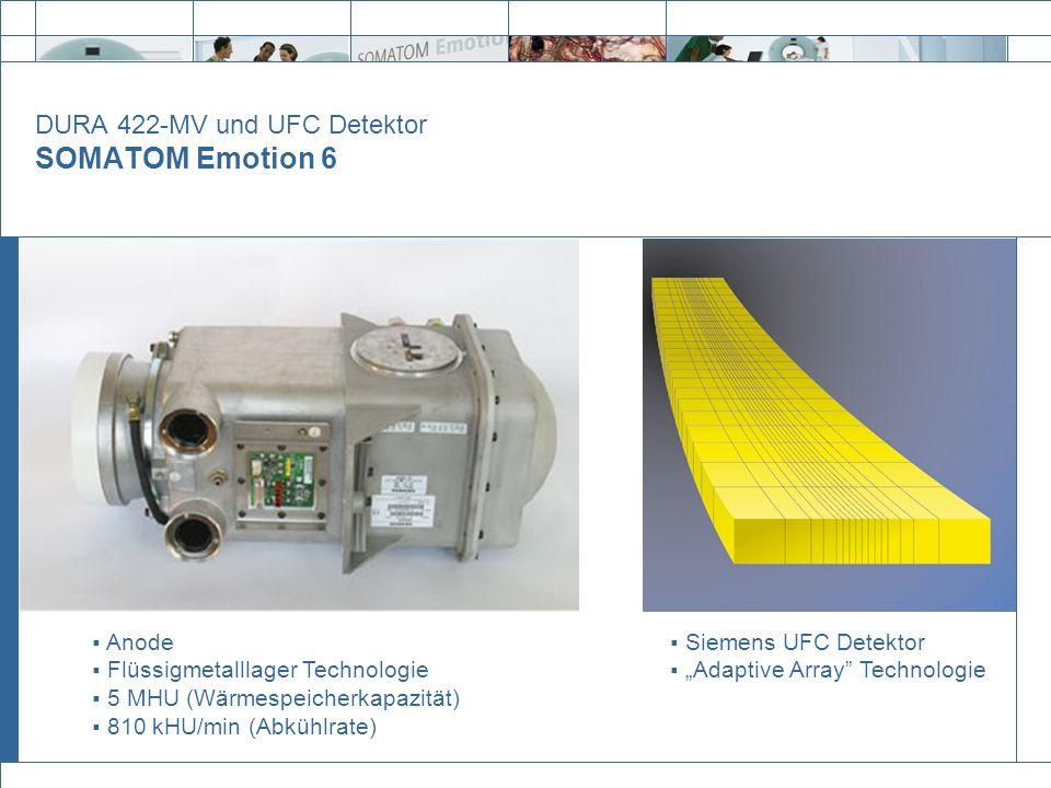 DURA 422-MV und UFC Detektor SOMATOM Emotion 6 Anode Flüssigmetalllager Technologie 5 MHU (Wärmespeicherkapazität) 810 kHU/min (Abkühlrate) Siemens UF