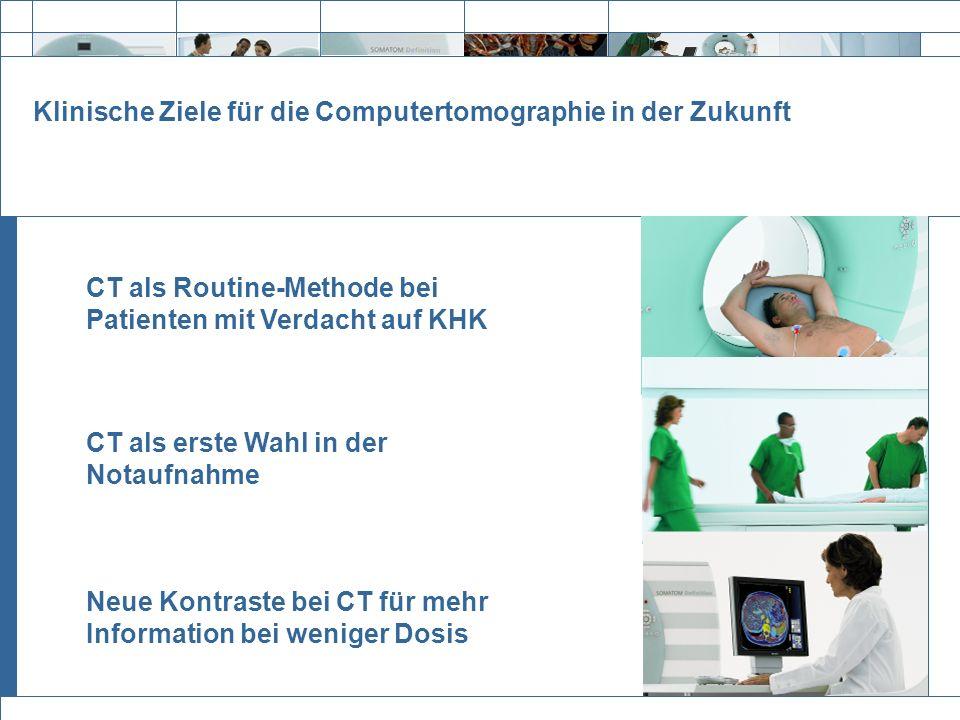 Exit Klinische Ziele für die Computertomographie in der Zukunft CT als Routine-Methode bei Patienten mit Verdacht auf KHK CT als erste Wahl in der Not