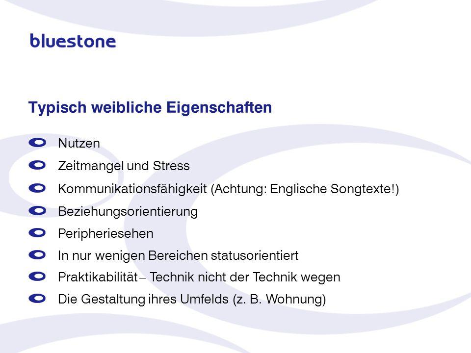 Typisch weibliche Eigenschaften Nutzen Zeitmangel und Stress Kommunikationsfähigkeit (Achtung: Englische Songtexte!) Beziehungsorientierung Peripherie