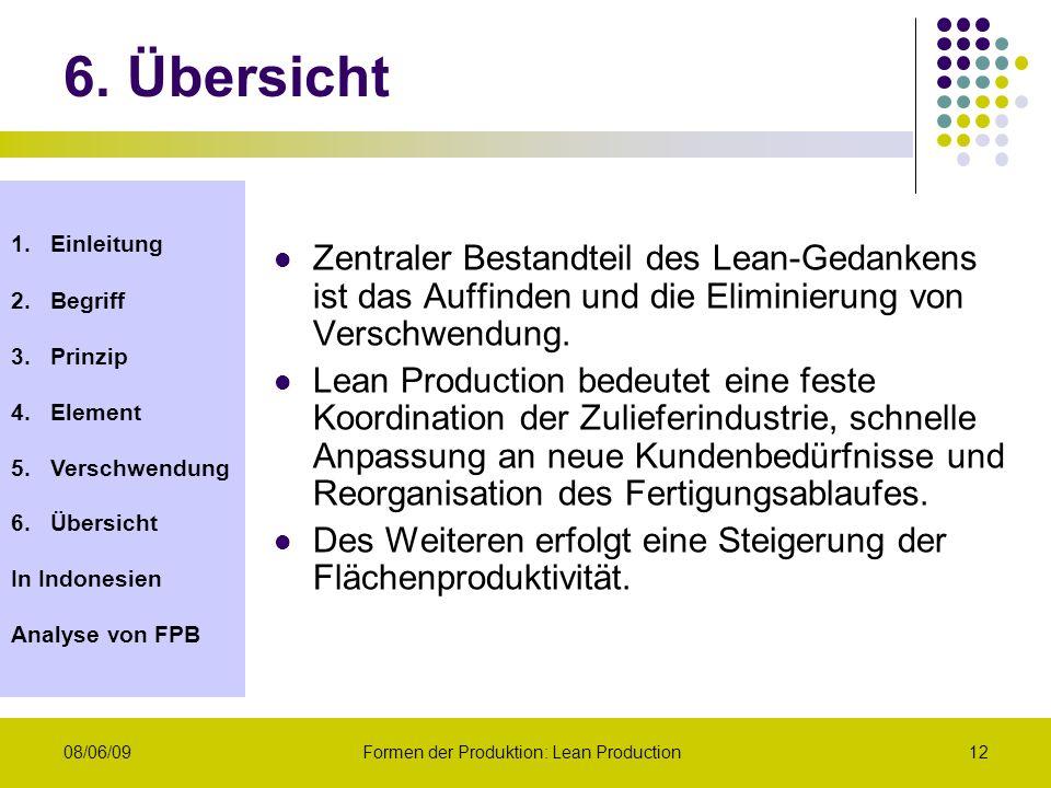 1.Einleitung 2.Begriff 3.Prinzip 4.Element 5.Verschwendung 6.Übersicht In Indonesien Analyse von FPB 08/06/09Formen der Produktion: Lean Production12